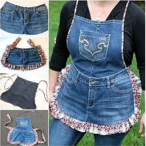 Фартуки из старых джинсов