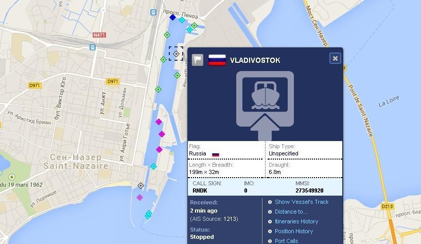 Первый вертолетоносец «Мистраль» в международной системе AIS перешёл под флаг России  http://russian.rt.com/article/59515
