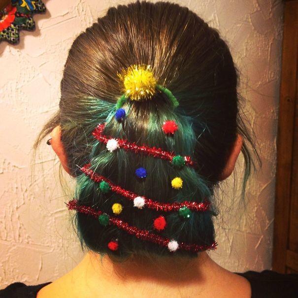 52. Елочка волосы, праздник, прическа, рождество