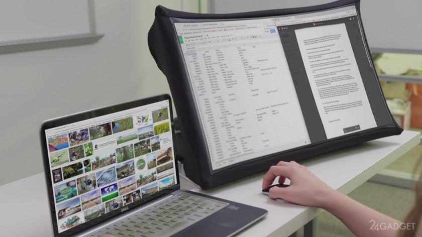 Складной 24-дюймовый дисплей SPUD умещается в портфель (6 фото + видео)