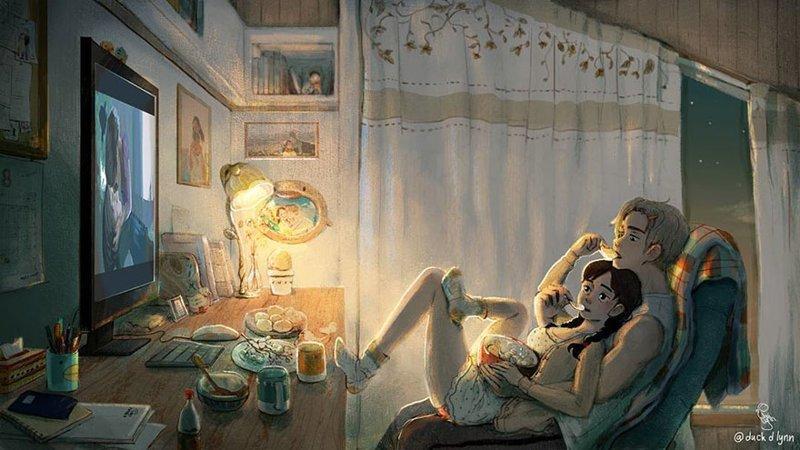 С ним так уютно смотреть любимый сериал и есть какой-нибудь фастфуд из одной коробки Любовь, Любовь . нежность . иллюстрация. художник, иллюстратор, иллюстрации, мимими, мужчина и женщина, чувства