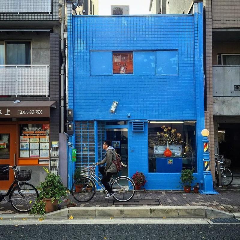 Синий дом архитектура, дома, здания, киото, маленькие здания, местный колорит, фото, япония