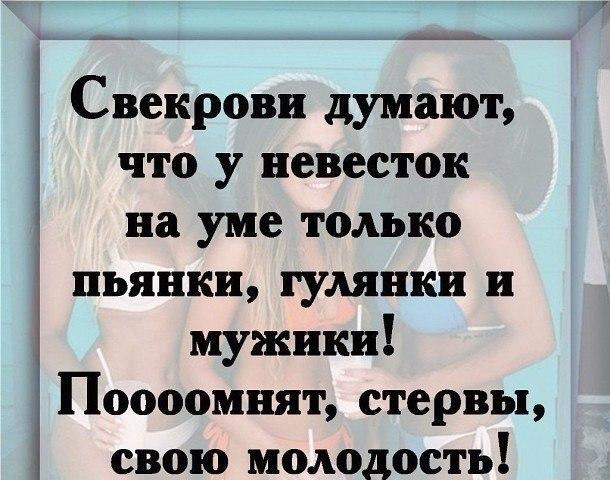 Свекрови думают, что у невесток на уме только пьянки, гулянки и мужики... Улыбнемся)))