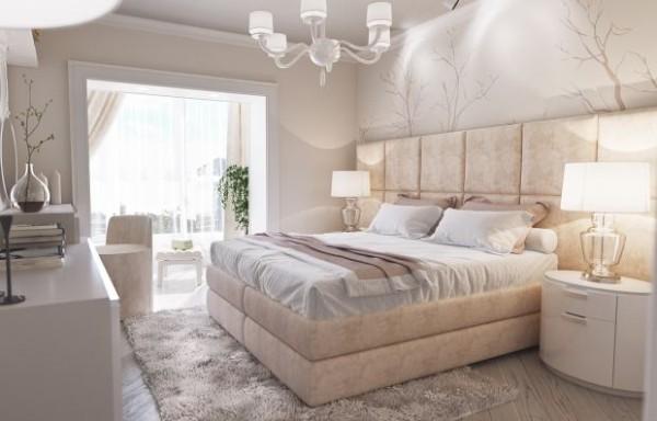 сочетание цветов в интерьере спальни белый дизайн с элементами бежа