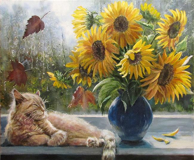 Кошачья жизнь в картинах художницы Воробьевой Ольги