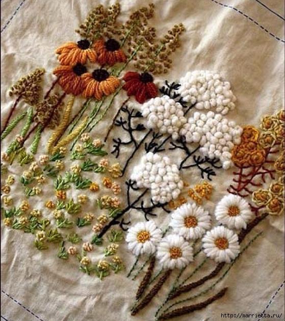 Цветы объемной вышивкой гладью. Красивые работы (9) (559x628, 290Kb)