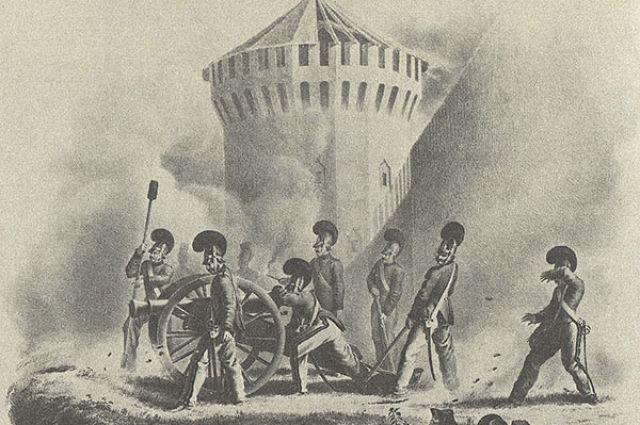 Смоленск в огне. Городская крепость могла выдержать осаду войск Наполеона
