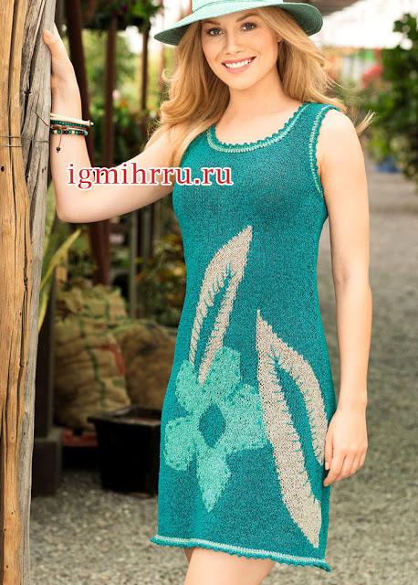Цветочный топ и летнее платье спицами