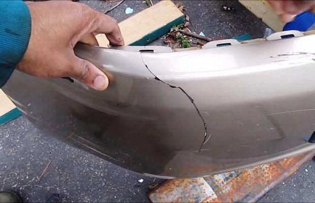 Как сделать трещину на бампер 768