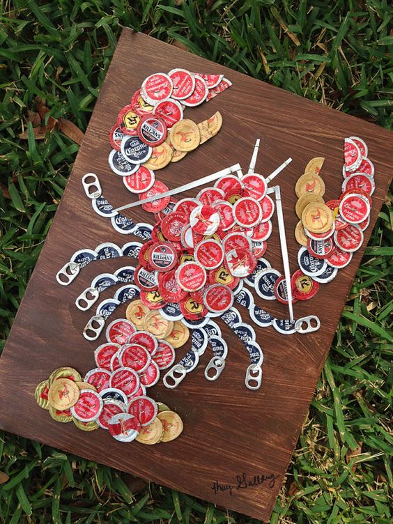"Beer/Bottle Cap Lobster (18"" x 12"") Signed Original, Ready To Hang - $85.00 (Kay's Cap Art) Great gift for dad!:"