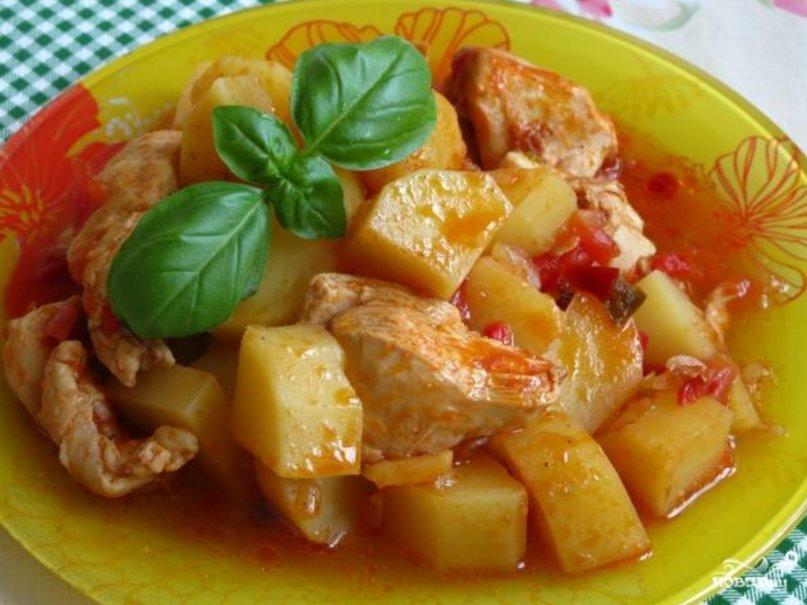 Курица с картошкой тушёная в мультиварке рецепты с фото