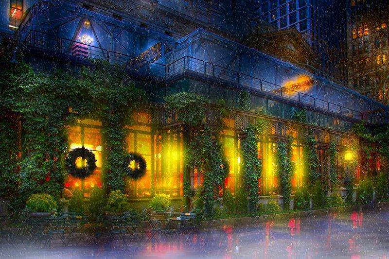 Известный гриль-бар Bryant Park Grill Нью -Йорк, красиво, красивый вид, новогоднее настроение, новый год, рождество, сша, фото