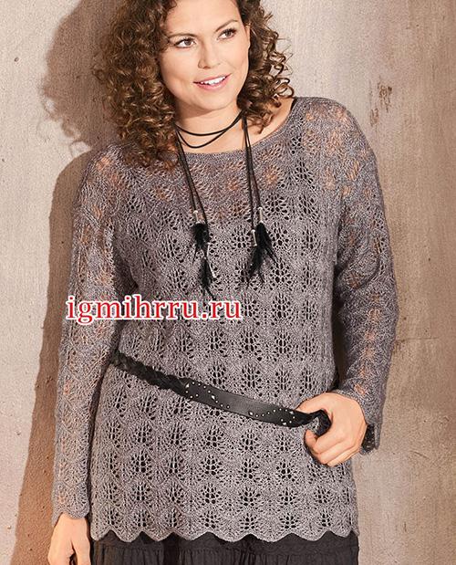 Серебристо-серый ажурный пуловер