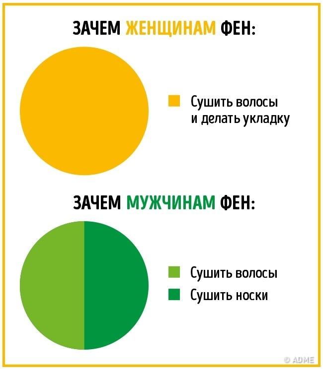 16 отличий мужчин и женщин в инфографике. :)))