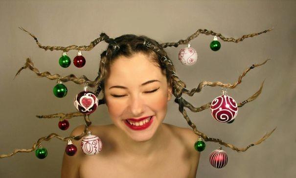 46. Украшенные ветки волосы, праздник, прическа, рождество