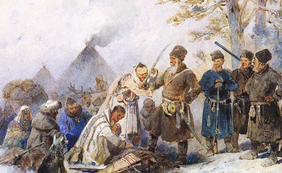 Сбор ясака. Картина Николая Каразина