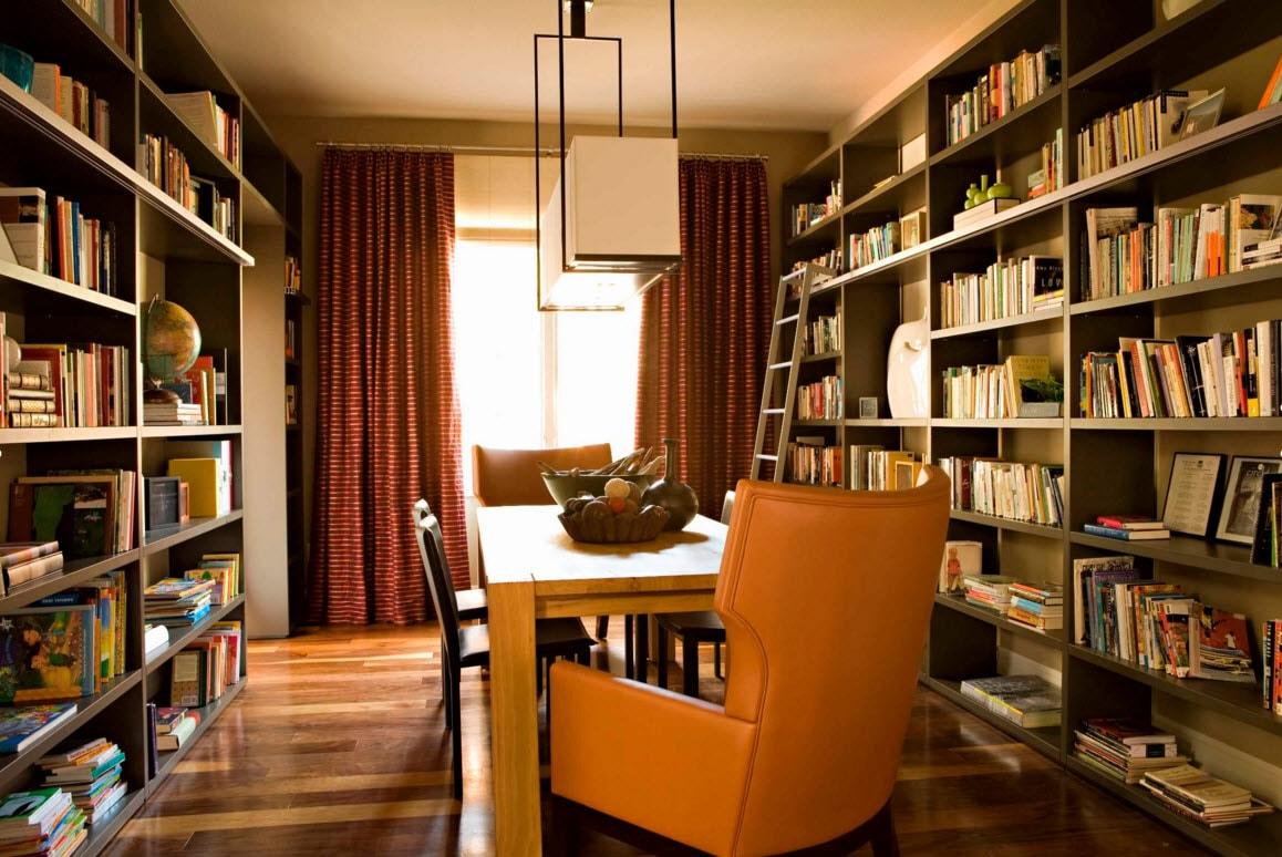 Книжные стеллажи с лестницей