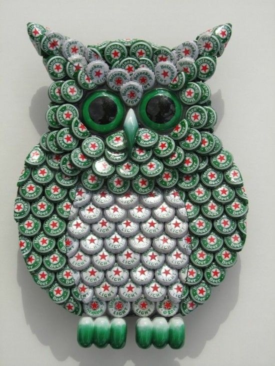 Owl Bottle Cap Art: