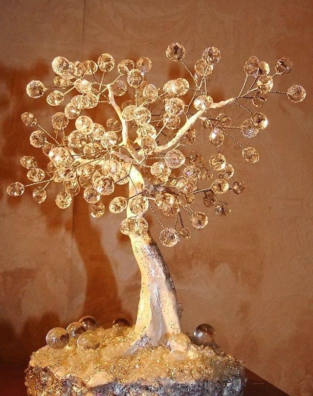 Деревья из камней и бисера дерево, своими руками, бисер
