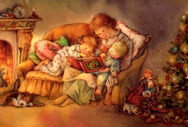 мама читает детям книжку