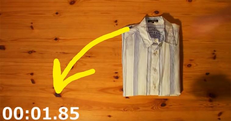 Простой способ как сложить рубашку менее чем за 2 секунды!