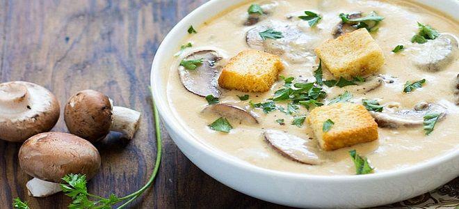 Суп пюре из шампиньонов с плавленым сыром