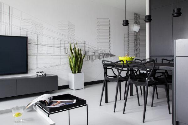 Современный черно-белый дизайн квартиры в Польше