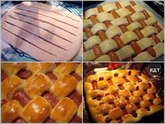Пирог с сосисками фото рецепт