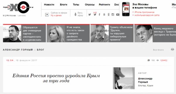 «Эхо Москвы» распускает лживые слухи о Крыме