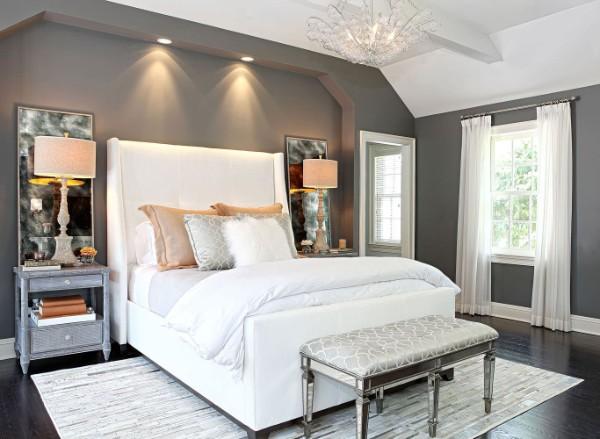сочетание цветов в интерьере спальни серый белый бежевый