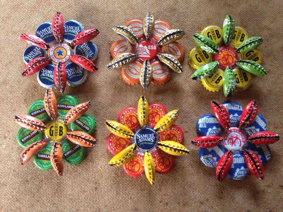 Bottle cap art Christmas ornaments.: