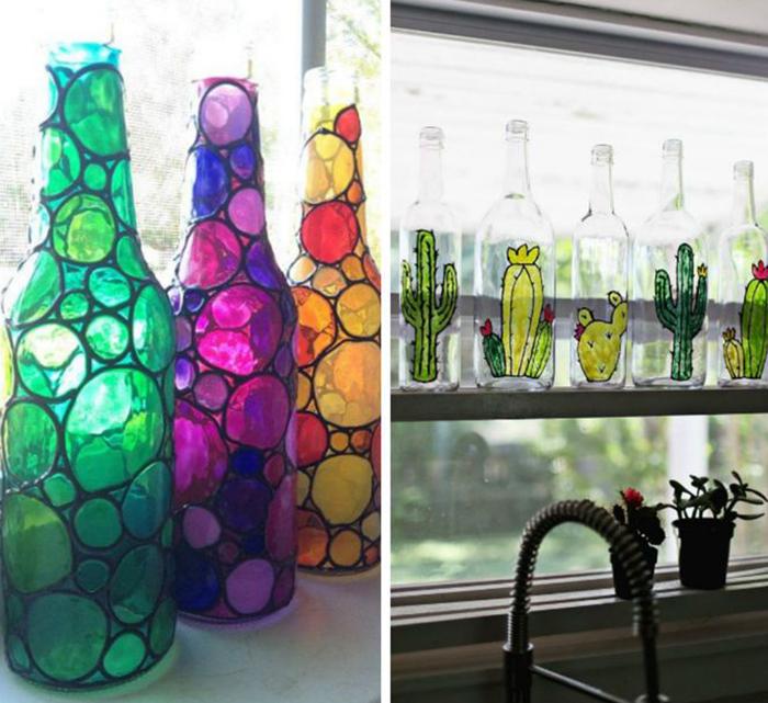 Украшаем стеклянных бутылок своими руками 68