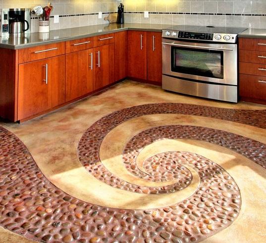 Идеи для пола на кухне из плитки