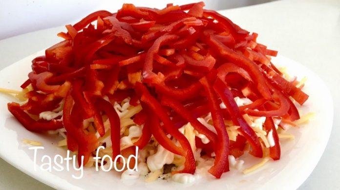Салат красное море с крабовыми палочками рецепт с фото