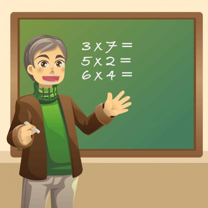Идёт урок математики. Молодой учитель задаёт ученикам вопрос)
