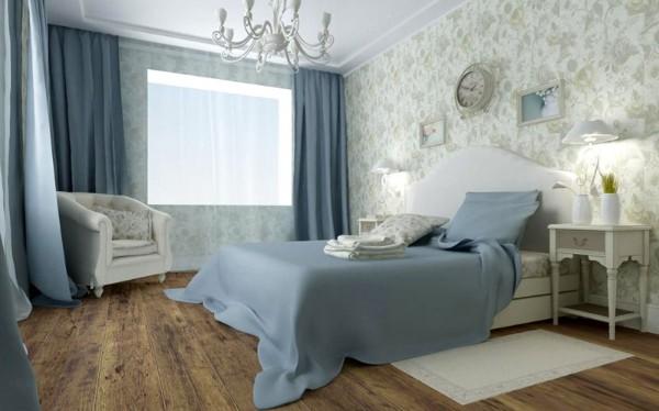 сочетание цветов в интерьере спальни голубой коричневый белый