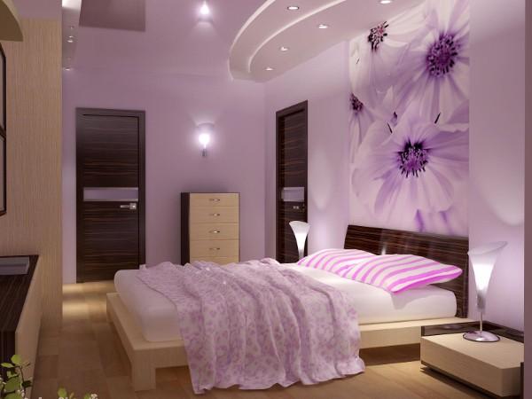 сочетание цветов в интерьере спальни сиреневый дизайн