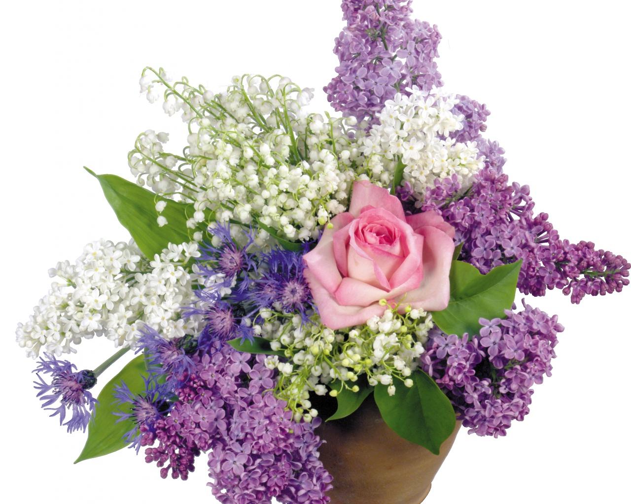 1280x1024 Обои роза, ландыши, сирень, цветы, горшок, букет