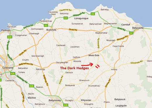 Карта - как попасть на буковую аллею в Северной Ирландии