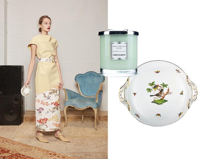 Rosie Assoulin; ароматическая свеча Fired Earth Peppermint Tea & Thyme, Wax lyrical; фарфоровое блюдо «Ротшильд», Herend, 27 656 руб., «Дом Фарфора».
