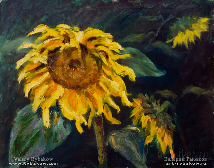 original oil painting Sunflowers at the end of the summer