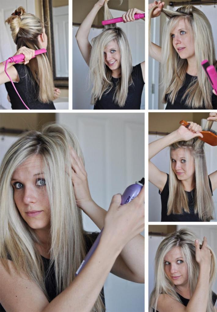 Как утюжком сделать объем у корней видео