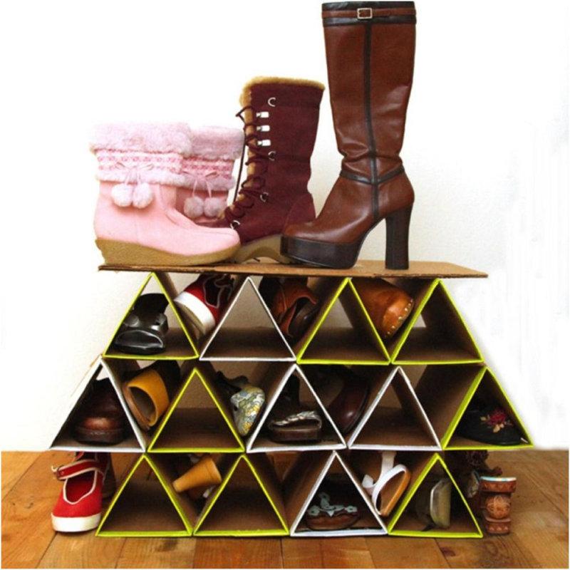 Подставка для обуви своими руками из коробок 15