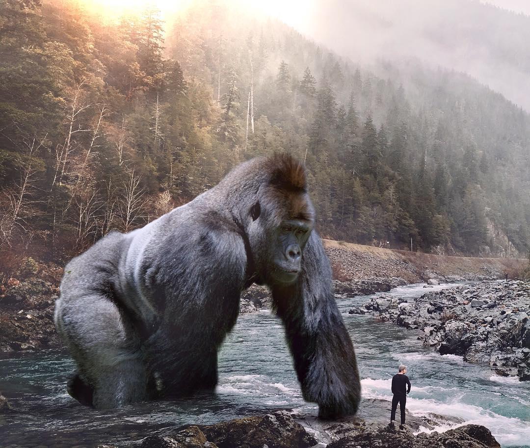 Большие животные и маленькие люди, Фотоманипуляции Эбена Маккриммона