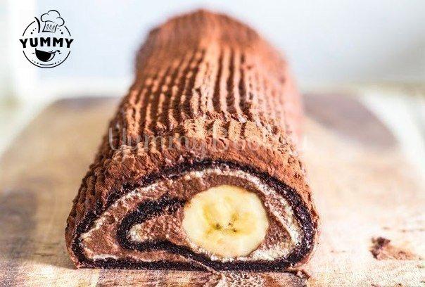 Шоколадно-банановый рулет за…