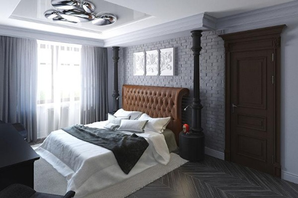 сочетание цветов в интерьере спальни серо-голубой оттенки коричневого