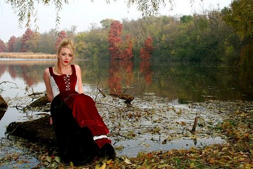 Девушка, Озеро, Осень, Дерево, Отражение