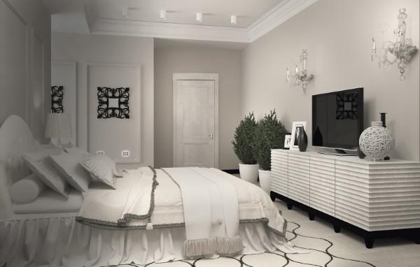 сочетание цветов в интерьере спальни бело-серый дизайн