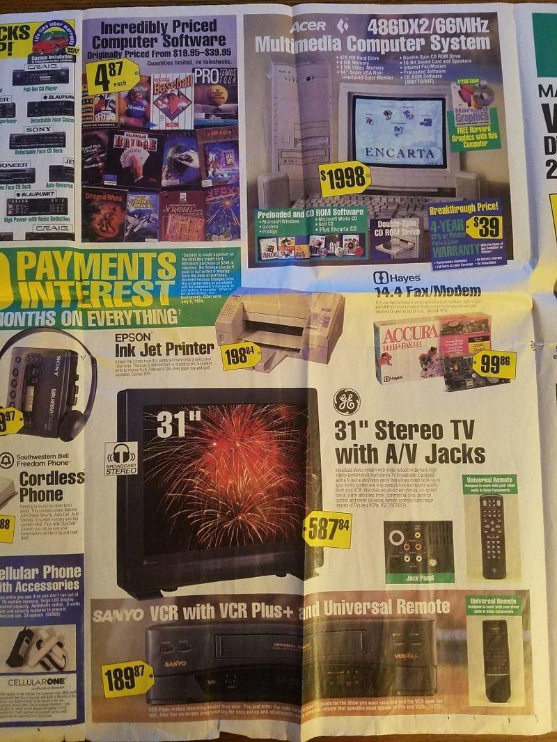 Струйный принтер и 31-дюймовый цветной телевизор вещи, гаджеты, ностальгия, реклама, техника