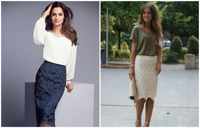 Кружевная юбка - идеальная составляющая романтичного и делового аутфита
